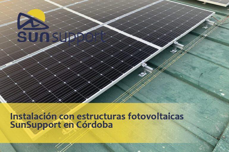 Instalación con estructuras fotovoltaicas SunSupport en Córdoba