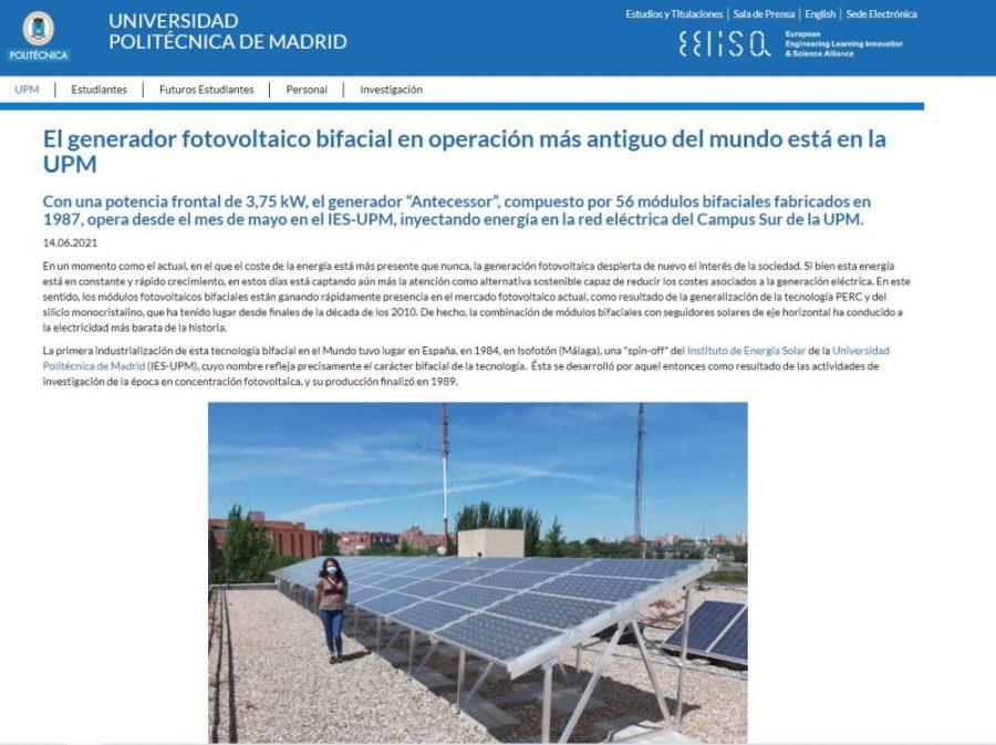 Le site de l'UPM se fait l'écho du projet réalisé par SunSupport