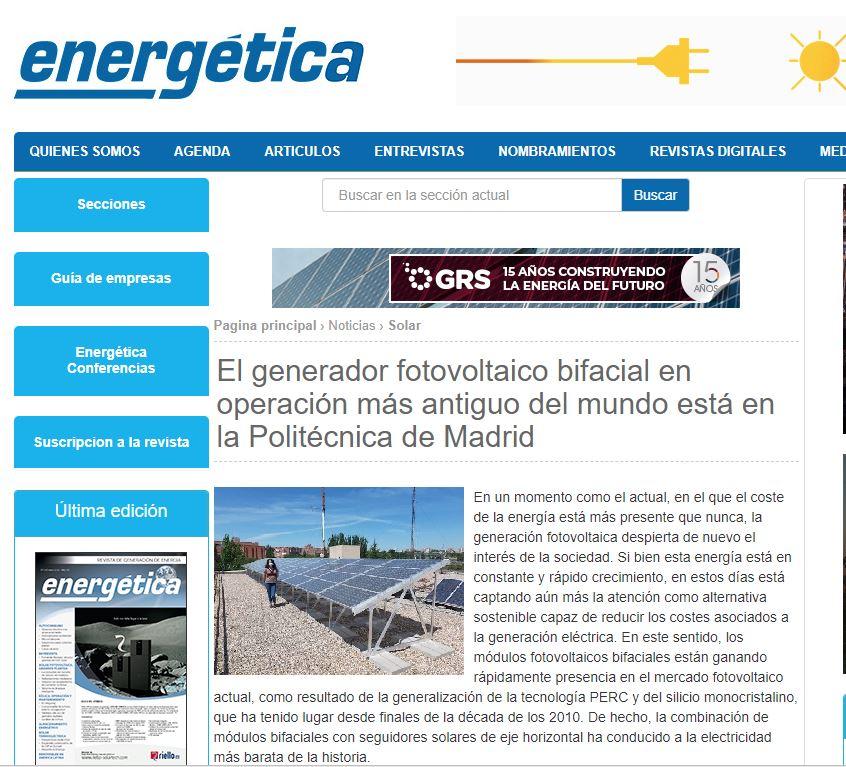 Energética se fait l'écho du projet réalisé par SunSupport