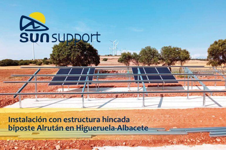Instalación con estructura hincada biposte Alrután en Albacete